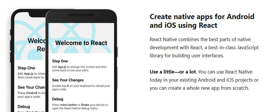 React Native erlaubt native Apps für iOS oder Android (Bildquelle: React Native)